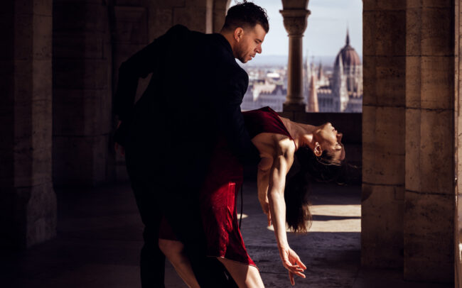 Tango Místico, Judit & Lucas, doing some tango poses in the Fisherman's Bastion, in Budapest. April 2021