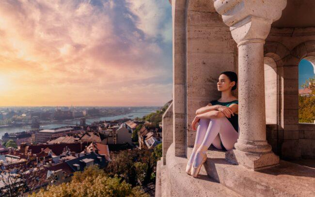 Zsofia Strbka, ballet student at the Magyar Nemzeti Balett Intéze. Photoshoot at the Fisherman's Bastion, Budapest.